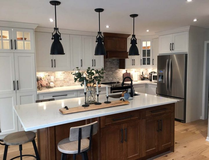 Stunning White and Classic Wood Grain Combine and Open The Layout of this Kitchen